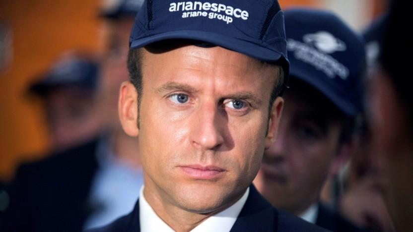 Präsident Emmanuel Macron 2017 bei einem Besuch des Guiana Space Centre (CSG) in Kourou