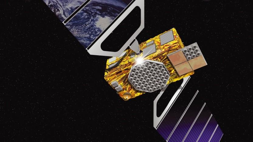 Künstlerische Darstellung eines Galileo-Satelliten im Orbit