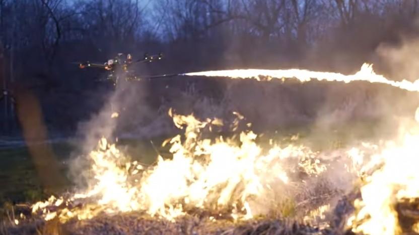 So ein Flammenwerfer kann außer Kontrolle geraten.