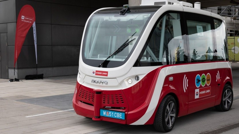 Autonom fahrender Navya-Bus in Wien