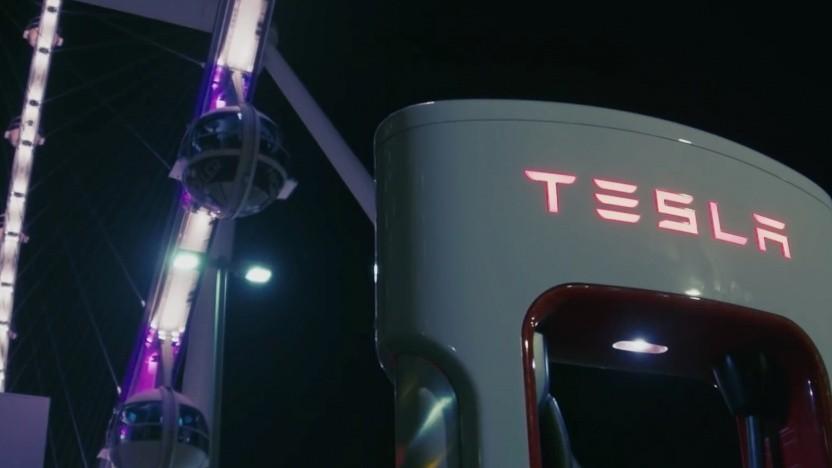 Tesla-Ladestation Supercharger V3 in Las Vegas