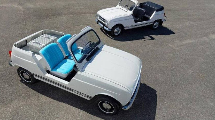 Renault R4 Plein Air als Elektroauto (vorn) und im Original