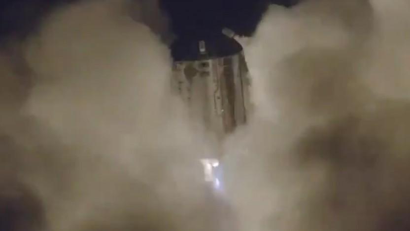 Vom Test des ersten Prototyp des Starship war nur aus Sicht einer Drohne etwas zu sehen.