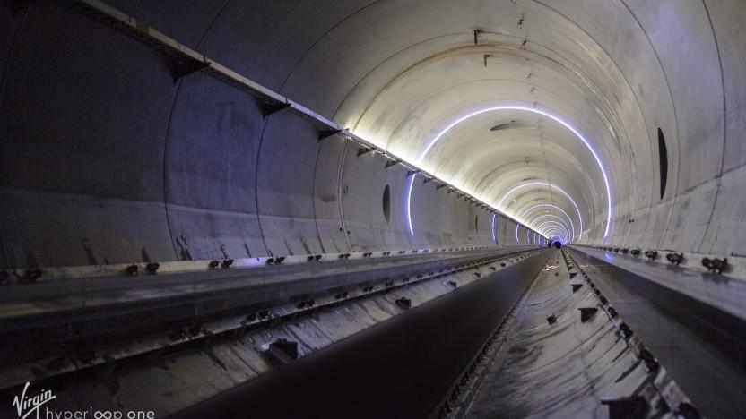 Hyperloop-Röhre von Virgin Hyperloop One in Nevada (Symbolbild): hoffen auf einen Slilicon-Valley-Effekt
