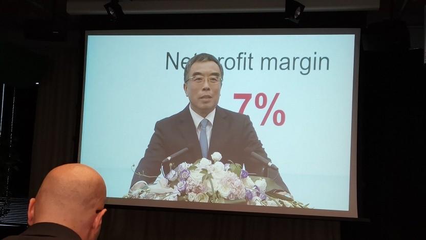 Liang Hua, Huawei Chairman, in der Videokonferenz