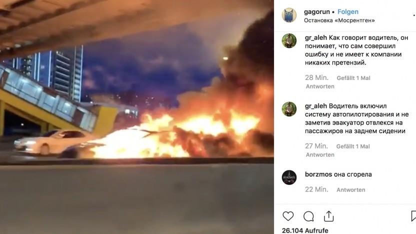 Das in Brand geratene Model 3