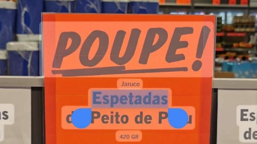 Auch diesen Text aus einem portugiesischen Supermarkt erkennt Google Fotos.