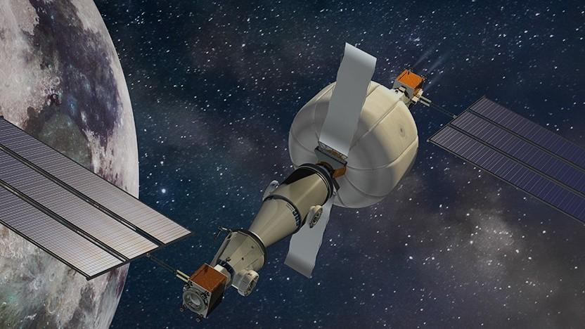 Künstlerische Darstellung einer Raumstation mit Life-Modul: Habitat mit drei Stockwerken