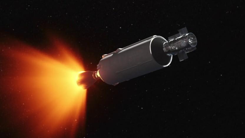 Die Falcon-9-Oberstufe soll viele kleine Satelliten tragen können.