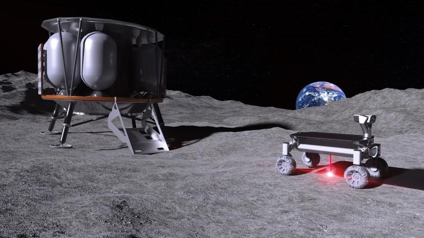 Die Raumfähre Alina soll einen Rover zum Mond bringen, der wiederum den Moonrise-Laser an Bord hat.