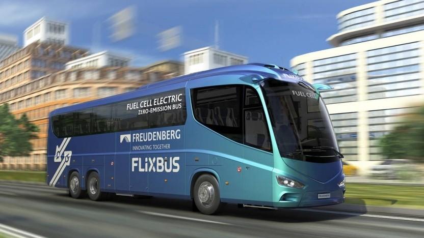 Brennstoffzellenbus von Flixbus (künstlerische Darstellung): mindestens 500 km Reichweite