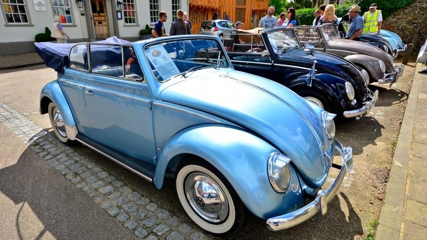 Historische VW Käfer bei einem Treffen in England (Symbolbild): Antriebsstrang des e-Up