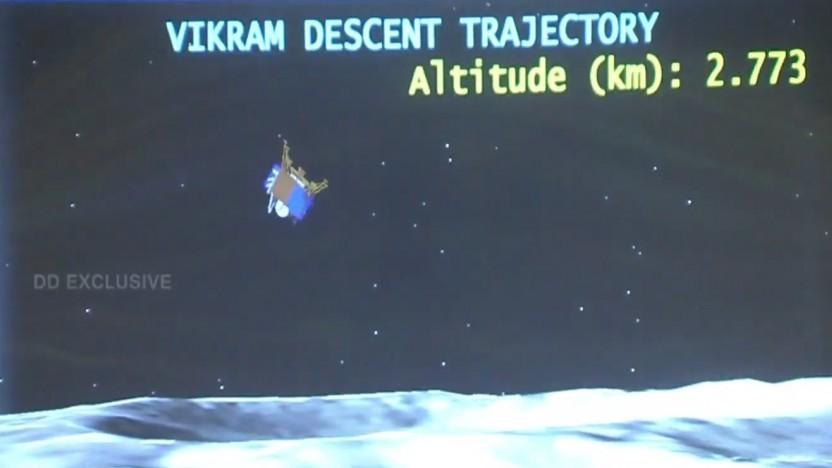 Wenige Kilometer über dem Mond verlor der indische Vikram Lander die Kontrolle.