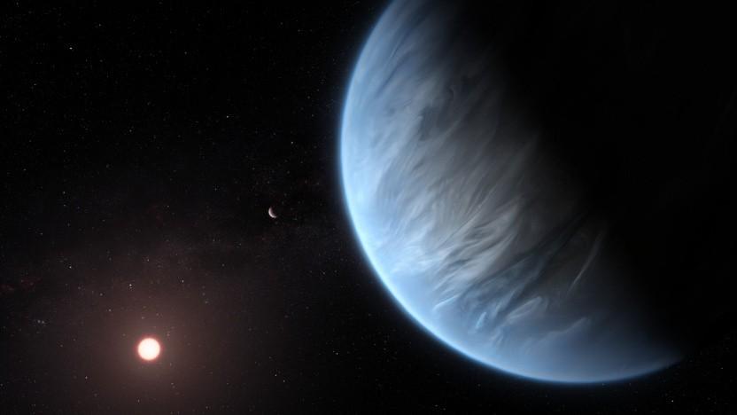 Künstlerische Darstellung eines Planeten mit bläulicher Atmosphäre um einen Zwergstern von der ESA.