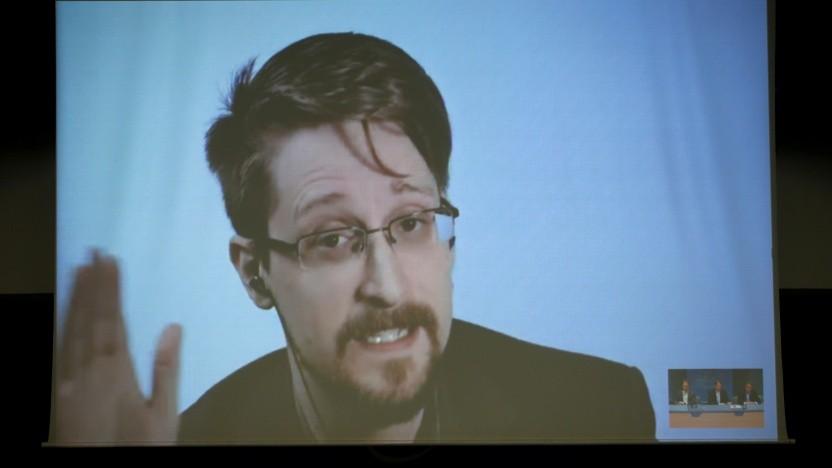 Edward Snowden spricht per Videokonferenz im März 2019 mit dem Europarat.