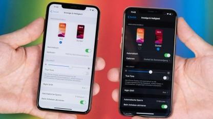 iOS 13 mit und ohne aktivierten Dark Mode