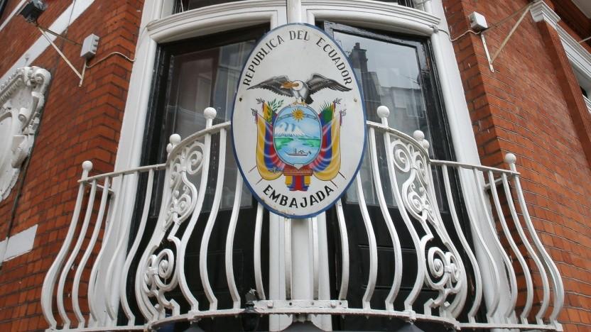 Balkon der ecuadoriansichen Botschaft in London