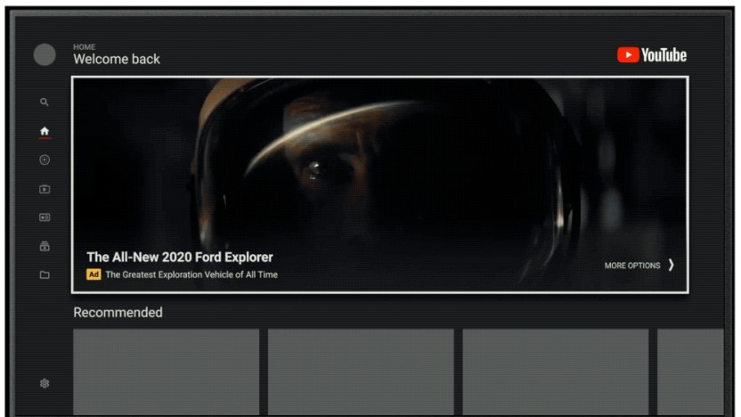 Googles Masthead-Werbung in der TV-App