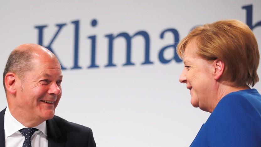 Kanzlerin Angela Merkel und Finanzminister Olaf Scholz bei der Vorstellung des Klimaschutzpakets am 20. September in Berlin