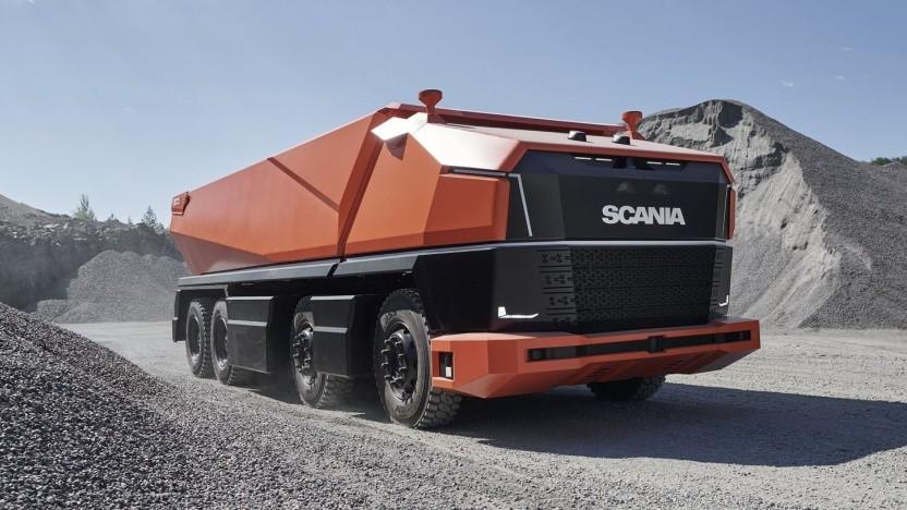 Fahrerloser Muldenkipper Scania AXL: intelligentes Frontmodul statt Führerhaus