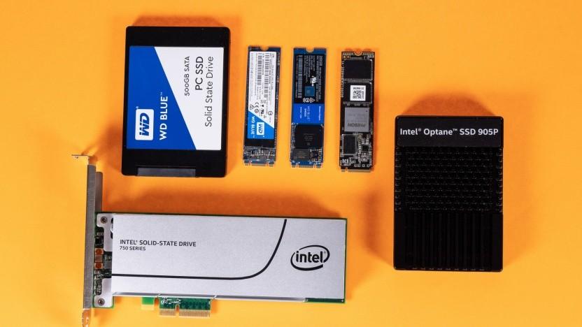 SSDs in verschiedenen Formen mit unterschiedlichen Anschlüssen und Interfaces