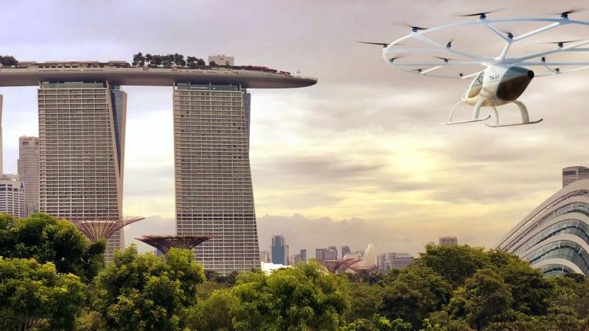 Volocopter X2 in Singapur (künstlerische Darstellung): erster Voloport am Marina Bay Hotel