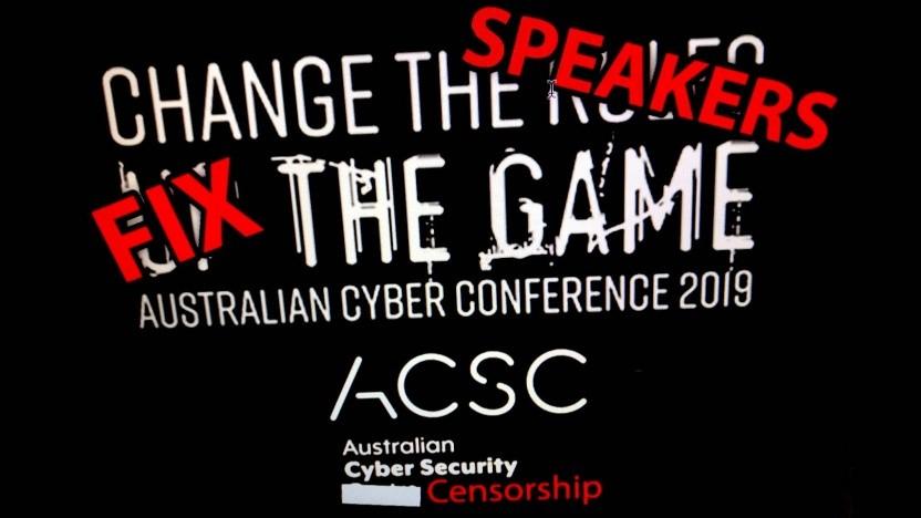 Protest gegen die Ausladung von Suelette Dreyfus und Thomas Drake von der australischen Cybercon