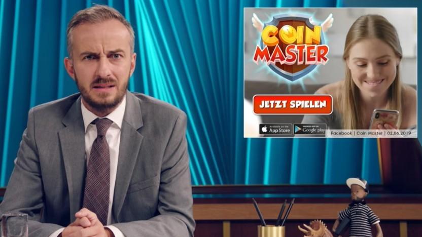 Das  Neo Magazin Royale des ZDF zeigt die Glücksspielsimulation Coin Master.