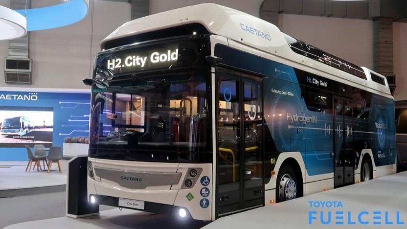 Brennstoffzellenbus Caetano H2.City Gold: betankt in knapp neun Minuten