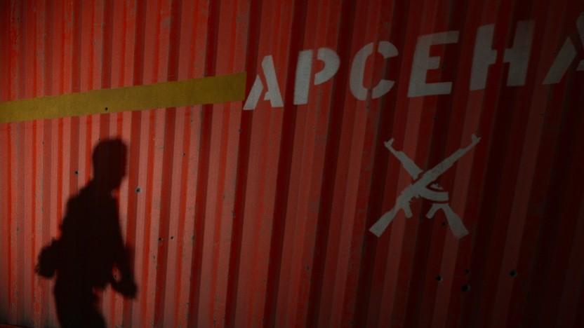 Ein Raytracing-Schatten an einem Frachtcontainer
