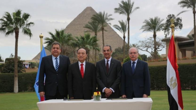 Der ägyptische Präsident al-Sisi (2. v.l.) bei der Eröffnung der WRC-19