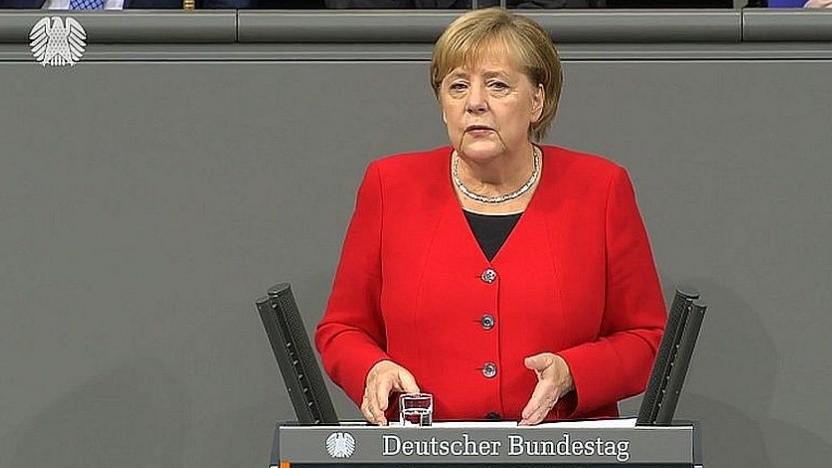 Merkel bei ihrer Rede