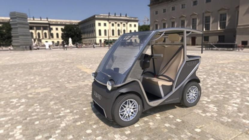 Solarauto Squad: Vier Squads passen auf einen Parkplatz.