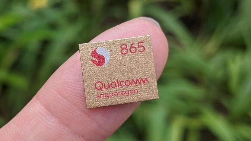 Package des Snapdragon 865 - im Gerät verbaut dann allerdings nicht gold