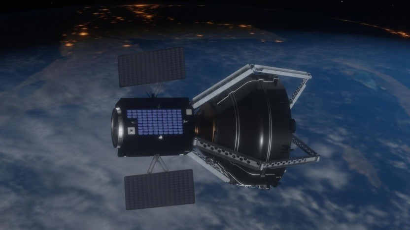 Clearspace-1 mit eingefangener Vega-Oberstufe: Experten warnen vor Megakonstellationen.