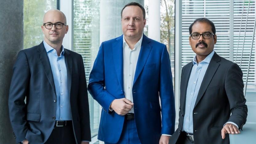 CEO Markus Haas (M.), CFO Markus Rolle (l.) und CTIO Mallik Rao (r.)