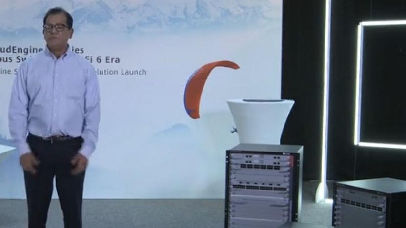 Huawei-Beschäftigter stellt 5G Campus vor