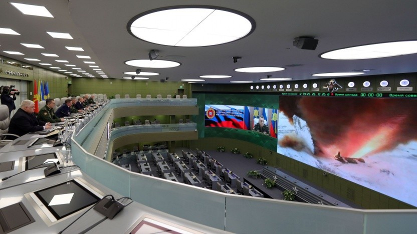 Russlands Präsident Wladimir Putin und hohe Militärs verfolgen den Erstflug von Avangard (am 26. Dezember 2018): absolute Waffe