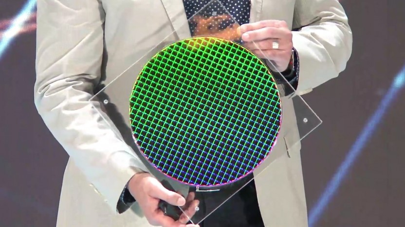 Ein Intel-Wafer mit 10-nm-Ice-Lake-Chips