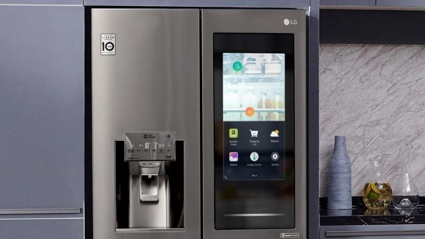 LG zeigt smarten Kühlschrank auf der CES 2020.