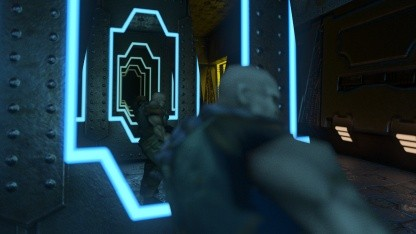 Quake 2 RTX mit Spiegelungen in Spiegelungen unter Vulkan-API