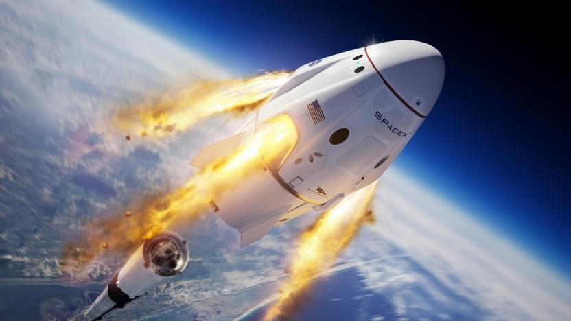 Künstlerische Darstellung des Abbruchtests von SpaceX