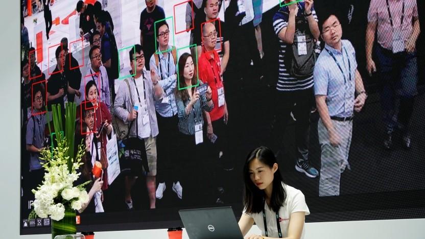 Demonstration von Gesichtserkennungstechnik auf der CES Asia