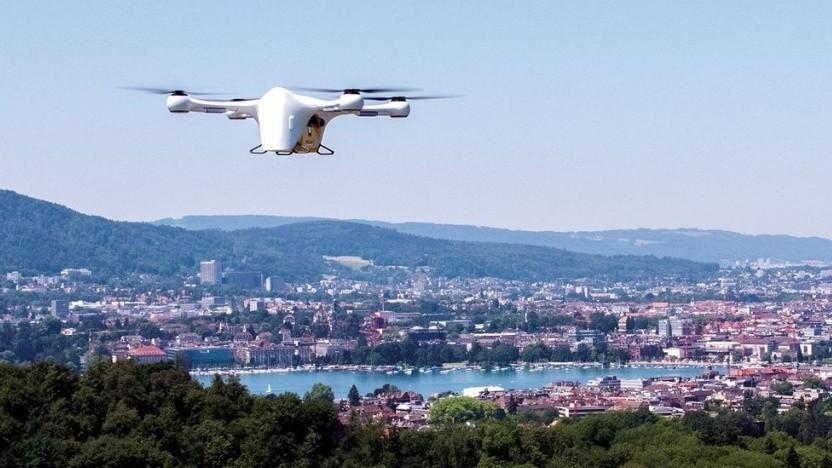 Lieferdrohne von Matternet über Zürich: bis zu 45 Minuten schneller als der Autokurier