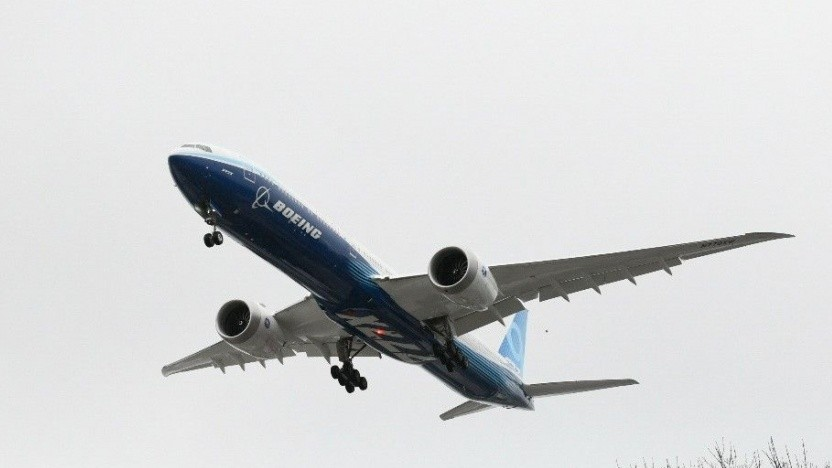 Boeing 777x bei Landeanflug: zehn Prozent weniger Treibstoffverbrauch