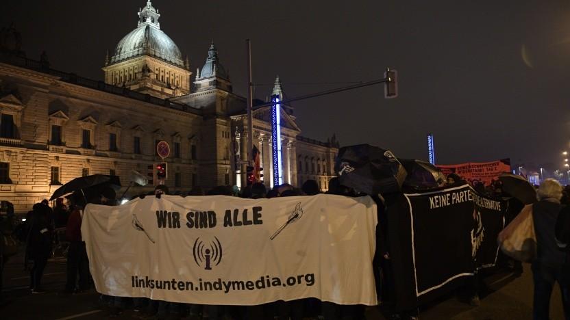Solidaritätsdemonstration gegen das Verbot von Linksunten vor dem Bundesverwaltungsgericht in Leipzig.