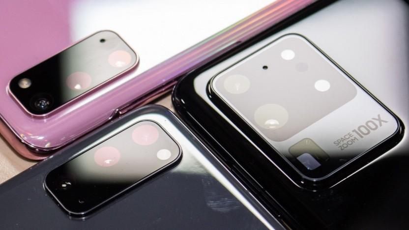 Die Kameramodule der drei neuen Galaxy-S20-Modelle