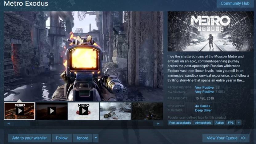 Metro Exodus kommt auf Steam.