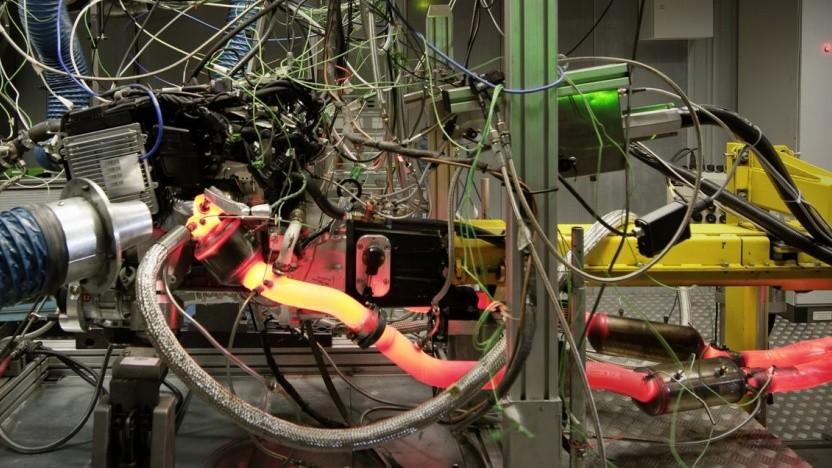 Motor auf dem Prüfstand: Der Katalysator braucht eine Betriebstemperatur von 140 Grad Celsius.