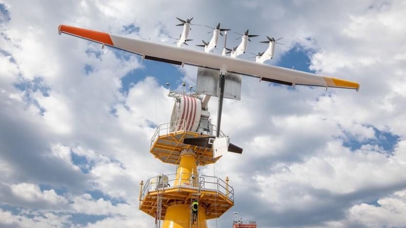 Fliegendes Windkraft auf einer Tonne vor der norwegischen Küste: Shell prüft eine Weiterentwicklung.